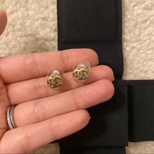 Authentic Chanel Classic Rounded CC Logo Earrings